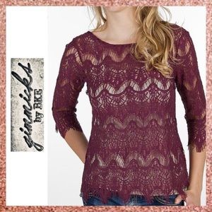 Gimmicks by BKE Buckle Purple Lace Blouse Small S